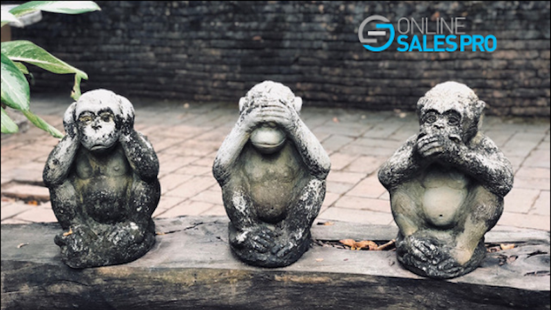 Three stone monkeys - one covering ears, another covering eyes, and the third covering mouth